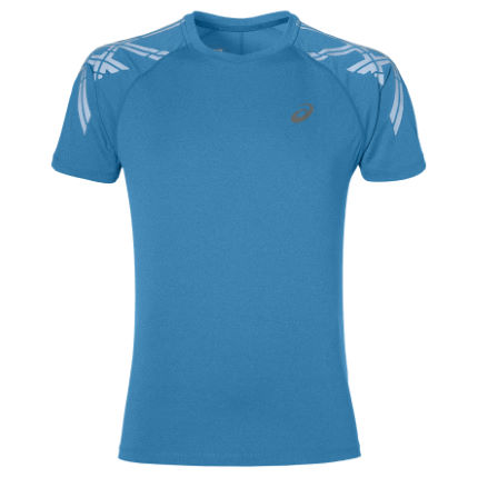 Asics Stripe SS Top   Blue 2 XL