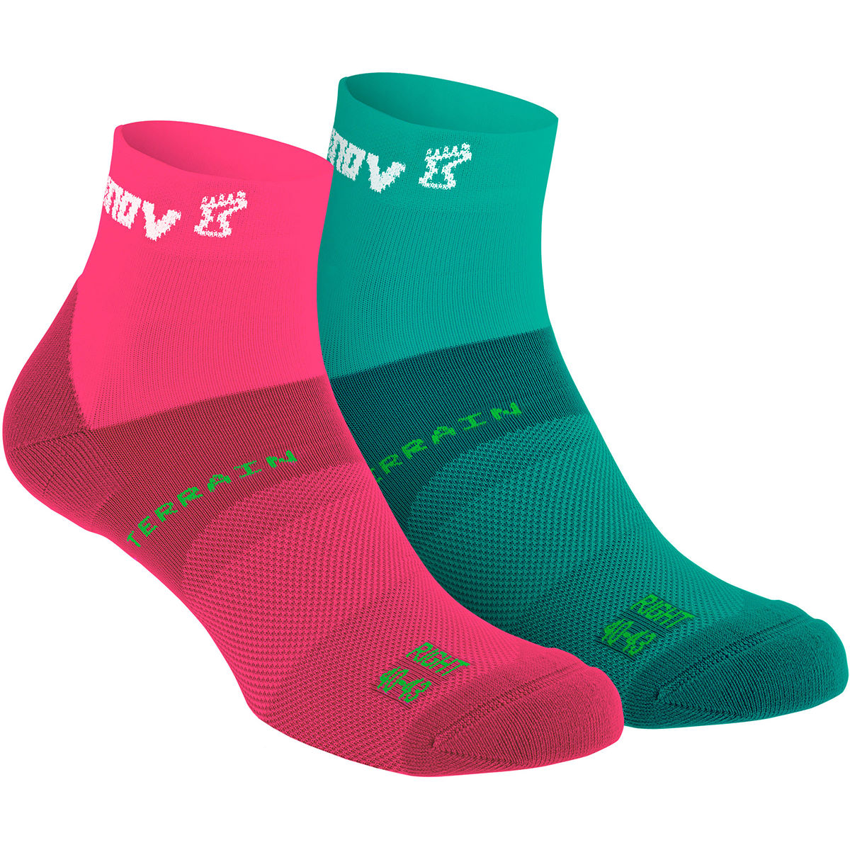 Chaussettes Inov-8 All Terrain (mi-hautes, PE17) - M Teal/Pink Chaussettes de running