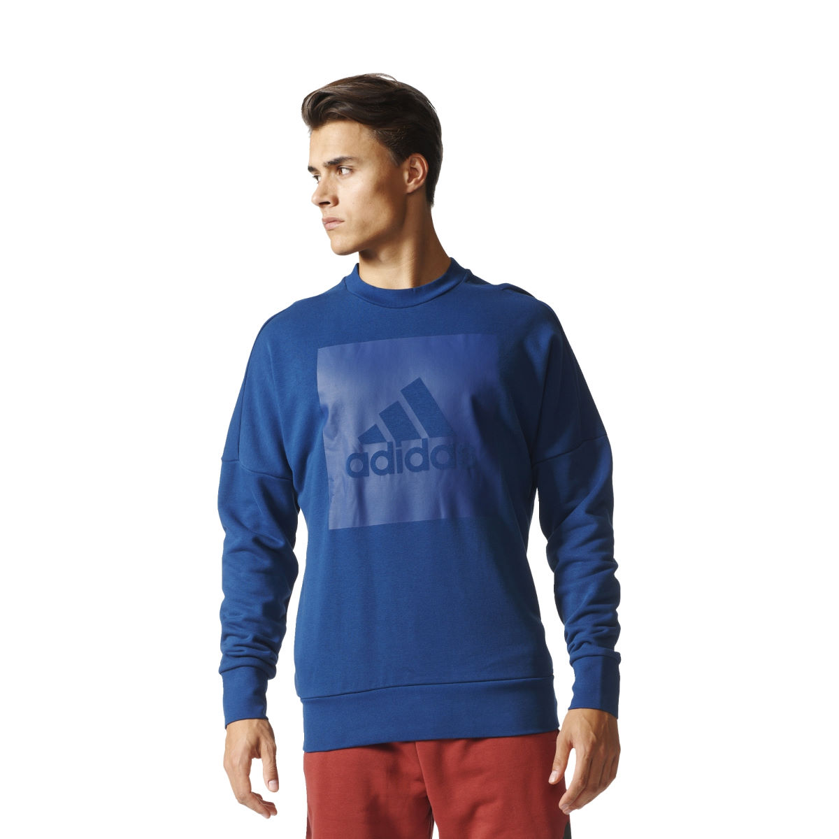 Maillot Adidas SID Branded (col rond, PE17) - S Bleu Hauts de running à manches longues