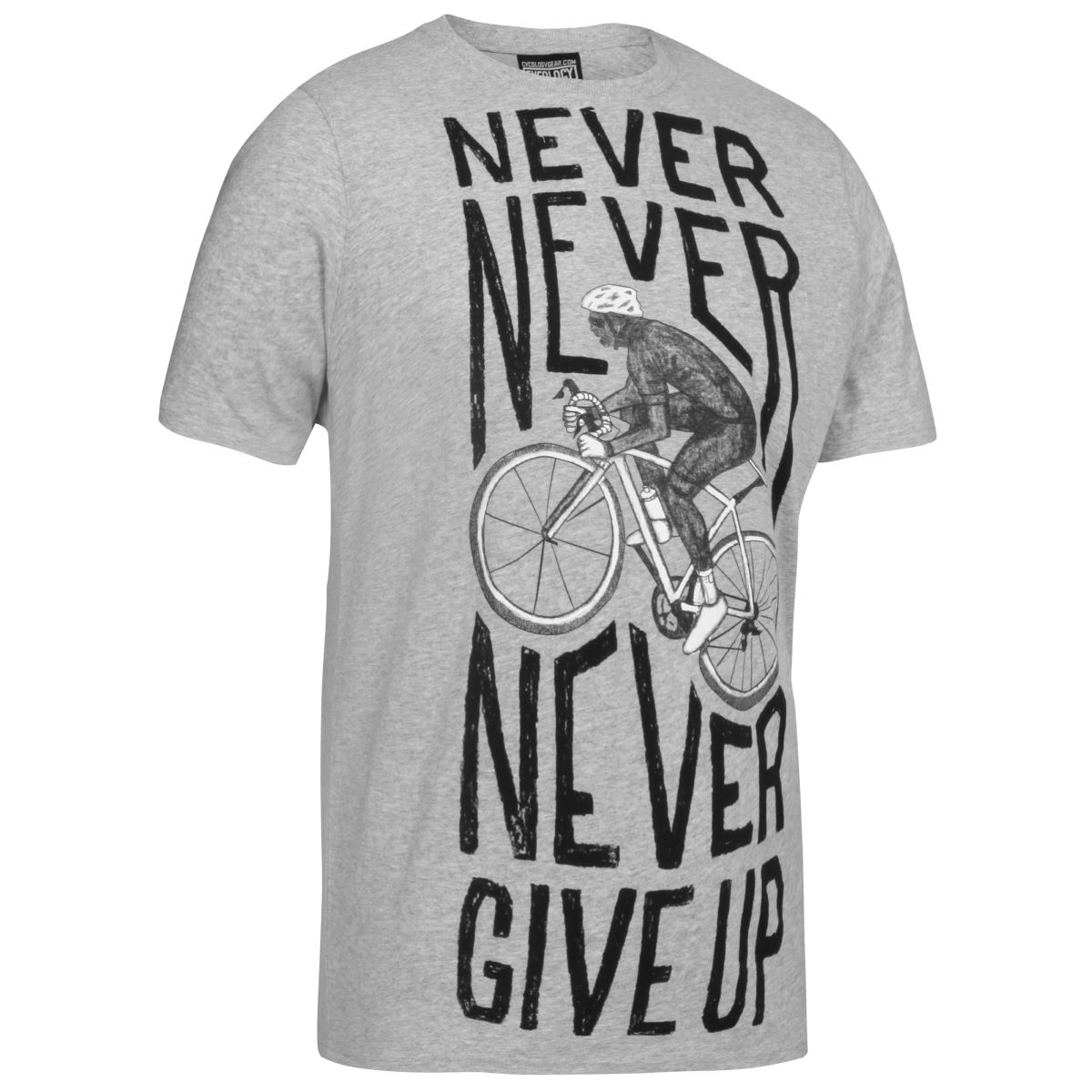 T-shirt Cycology Never Give Up - S Gris T-shirts