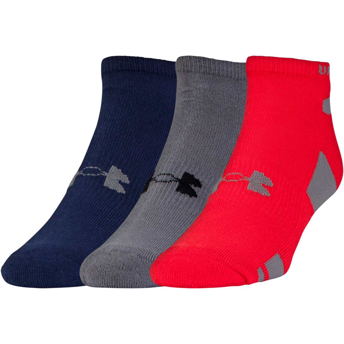 Chaussettes Under Armour HeatGear No Show (lot de 3) - M Rouge
