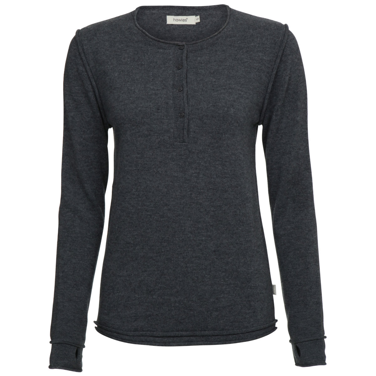 Pull Femme howies Kyoko (coutures brutes, style Henley, manches longues)