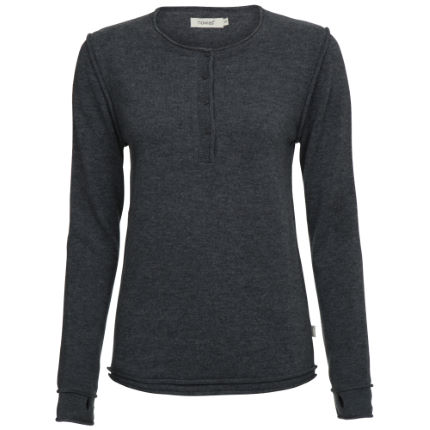 howies Women's Kyoko Raw Seam Henley Long Sleeve