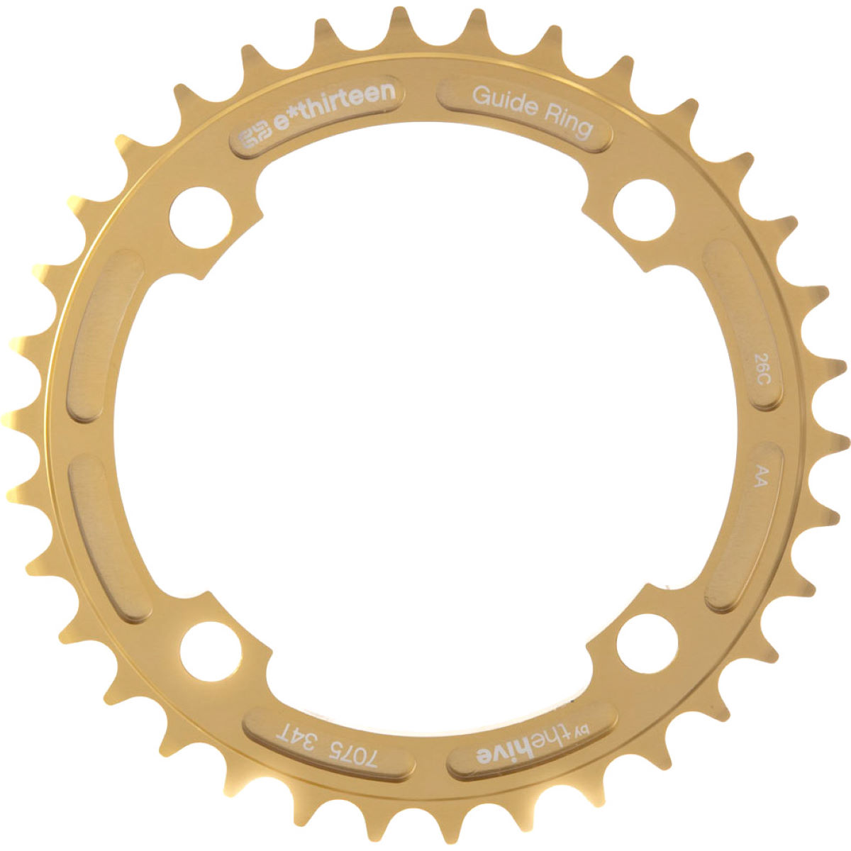 Plateau simple e.thirteen G-Ring - 34t 9/10/11 Speed Ano Gold