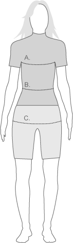 TYR womens tech swimsuit measure diagram