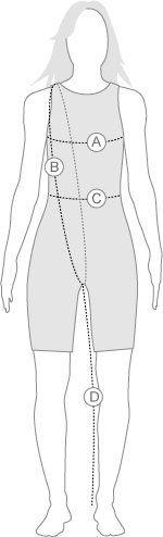 Speedo Womens kneeskin measurement diagram