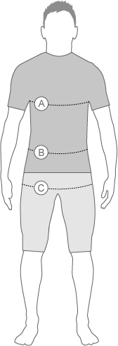 TYR mens swimwear measurement diagram