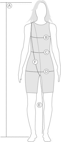 Arena Womens Racing Swimwear Measurement Diagram