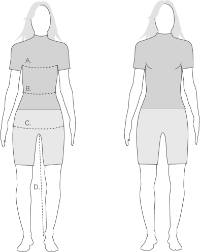 Sugoi Womens Slim Fit and measurement diagram