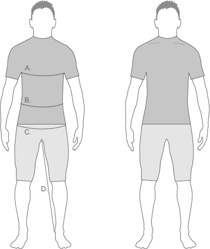 Sugoi Mens SlimFit Measure Diagram