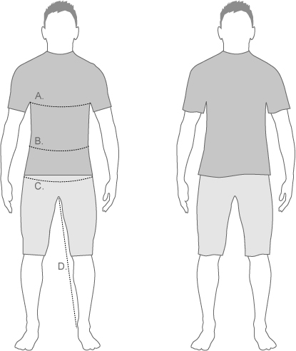 Sugoi Mens Relax Fit Measure Diagram