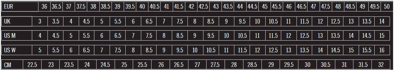 Giro Shoe Sizes