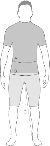 Nike Mens Tights and Trousers Measurement Diagram