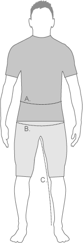 Storleksdiagram för North Faces herrshorts