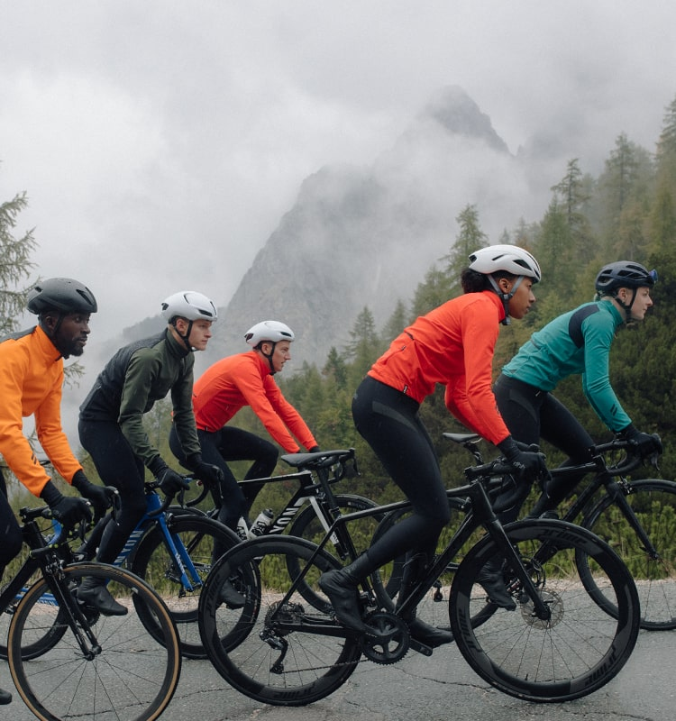 Group of cyclists out riding, wearing dbh aeron kit