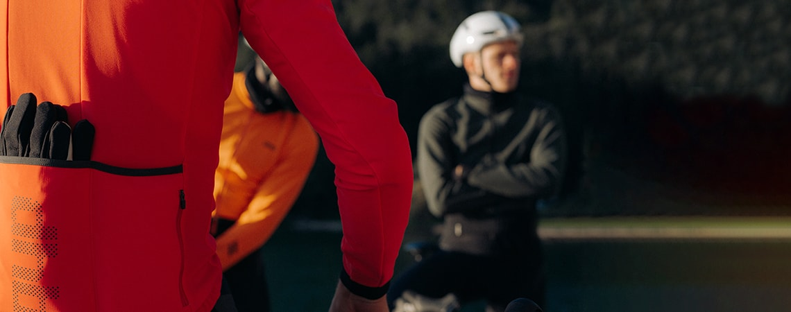 Close up of cyclists wearing dhb softshell jackets