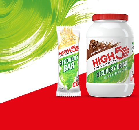 High 5 recovery drink and recovery bar