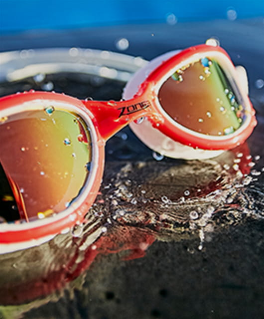 Close up of goggles with splashes of water on