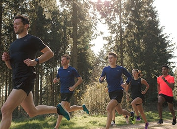 A group of runners run together. Shop D.H.B run and fitness wear.