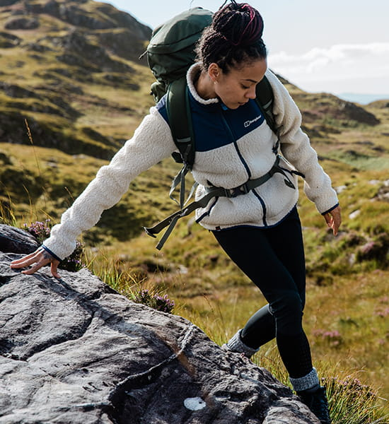 Woman out hiking in Berghaus gear