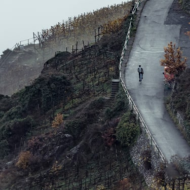 Assos Cycle - Guy riding in wide landscape with fog to the left