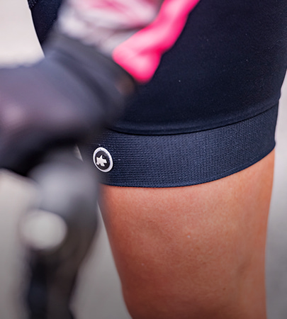 Close up of lady wearing Assos bib shots on bike