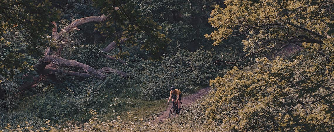 Guy riding bike through the woods