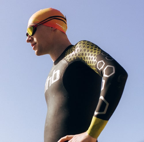 Guy wearing a dhb wetsuit
