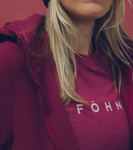Girl wearing pink fohn baselayer top