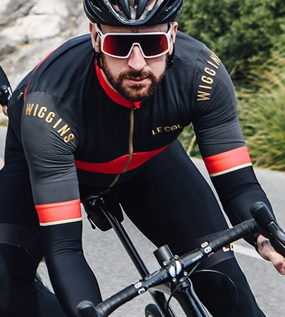 Bradley Wiggins out riding in his Le Col kit