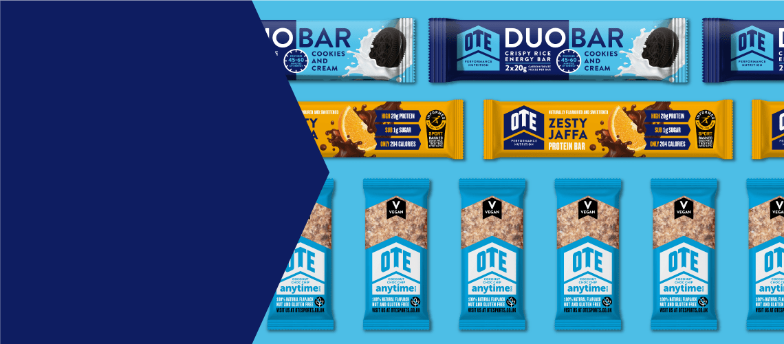 A selection of OTE's best sellers: Protein Bar, Duo Bar and Anytime Bar