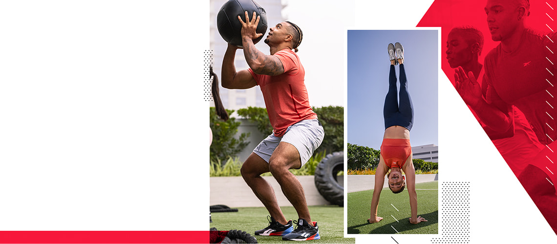 Man squating with weighted ball, and lady doing a handstand, both wearing Reebok gear