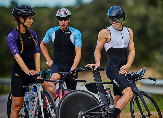 Three people out cycling in zone3 tri wear