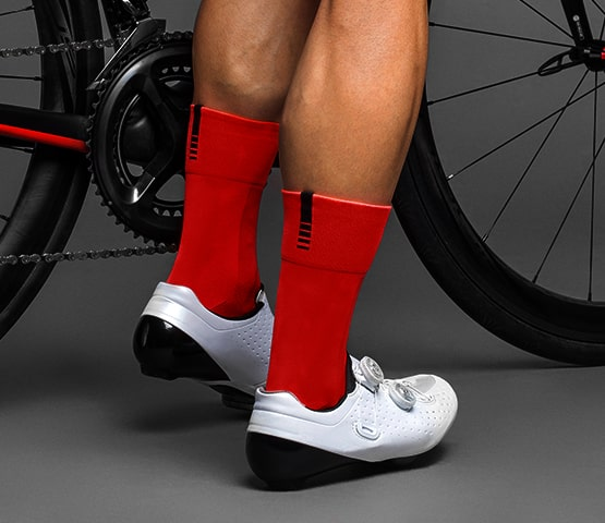 Person wearing red GripGrab socks