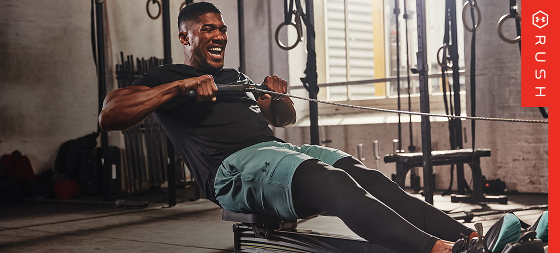 Anthony Joshua training in a gym wear Under Armour RUSH Clothing