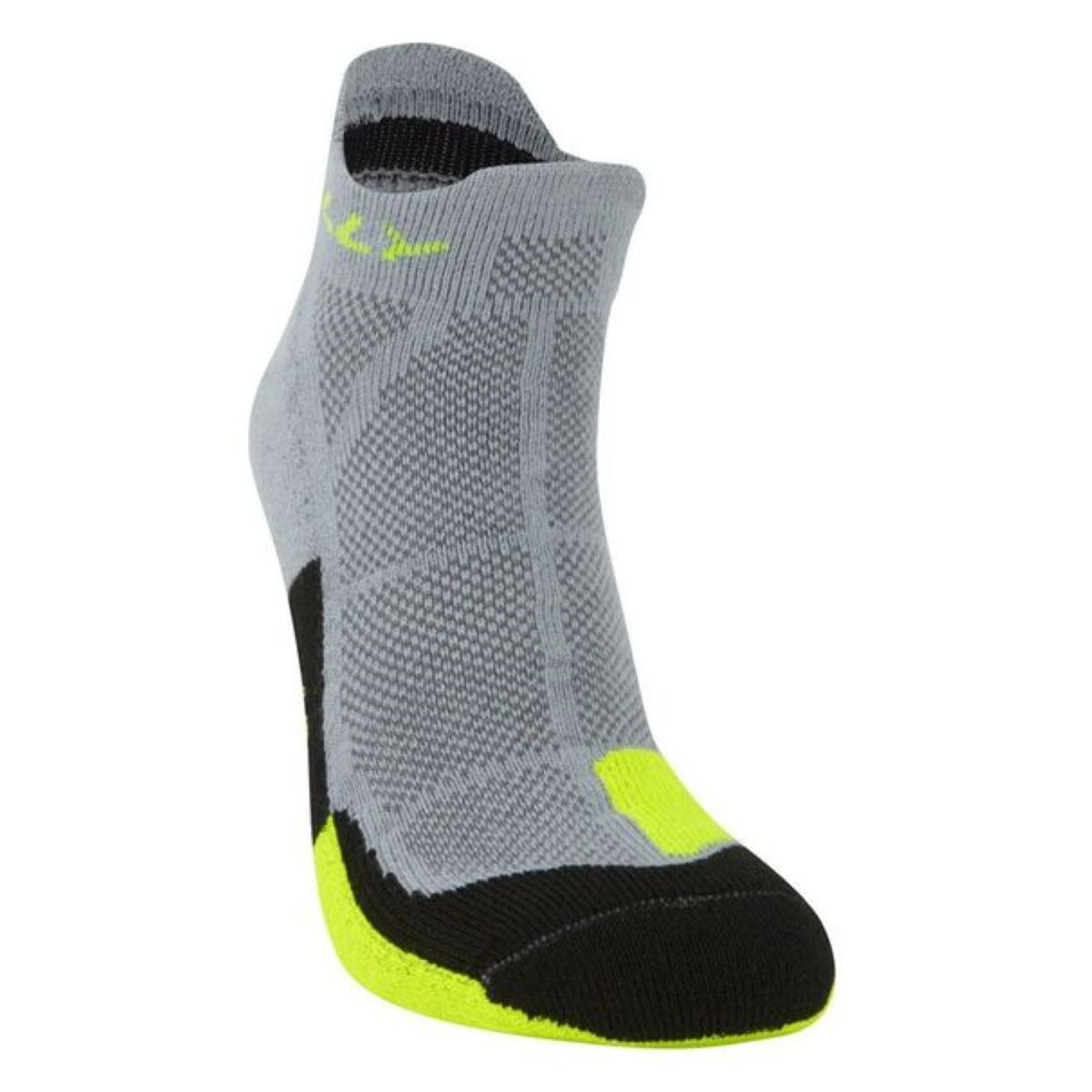 Hilly Cushion Socklet - S Grey/fluoyellow/blk   Socks