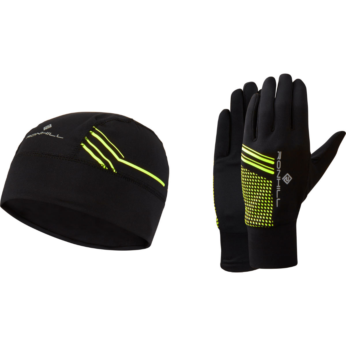 Ronhill Beanie And Glove Set - S/m Black/fluo Yellow  Beanies