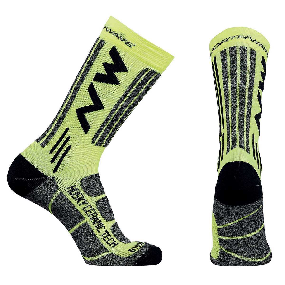 Northwave - Husky Ceramic Tech 2 High Socks - S Jaune  Chaussettes