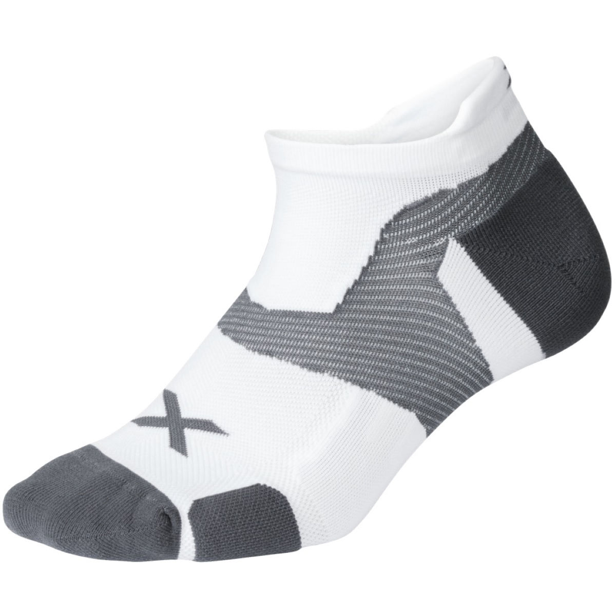 Image of Chaussettes 2XU Vectr Cushion No Show (blanches) - L Blanc/Gris