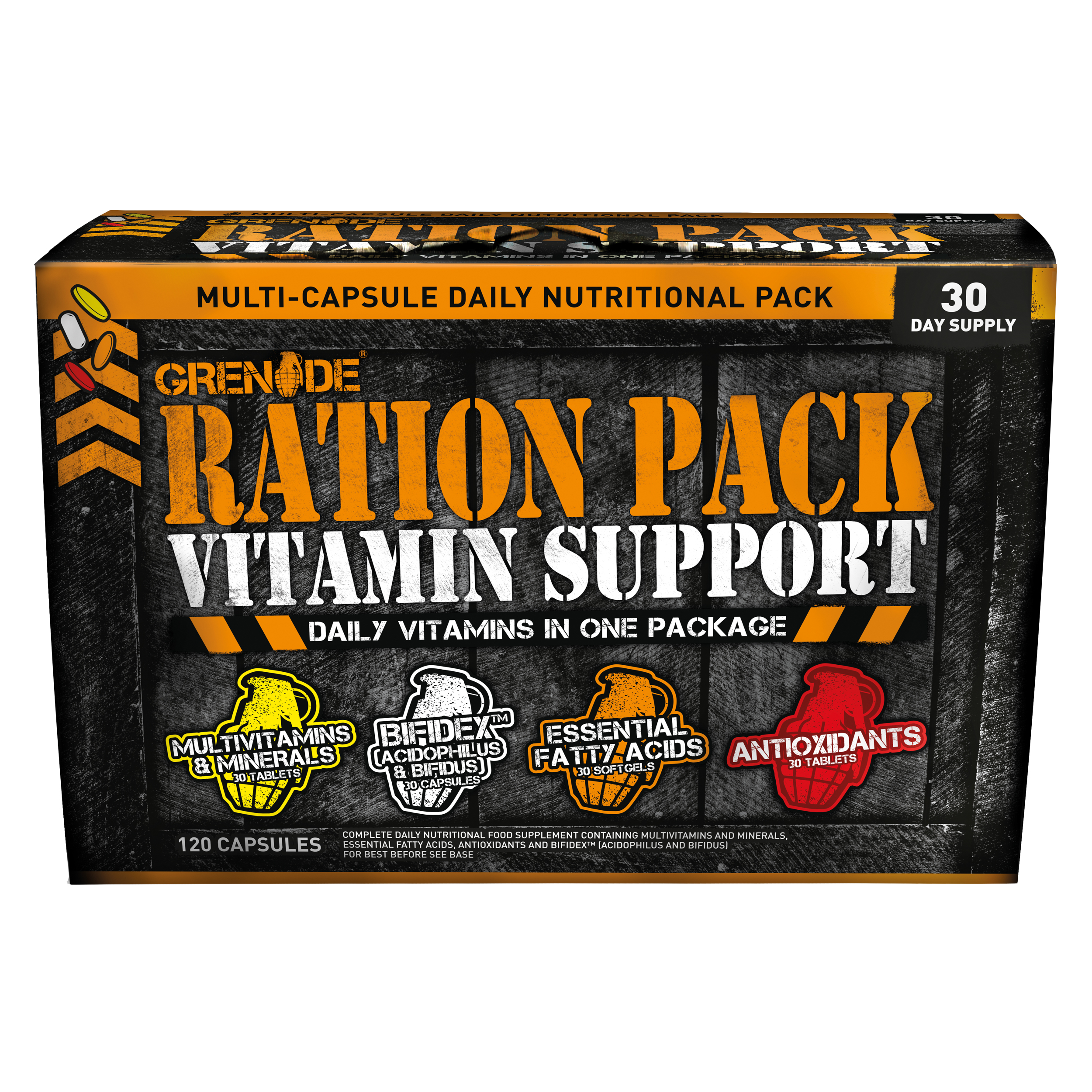 Grenade Ration Pack Vitamin Support (120 Capsules) | Misc. Nutrition