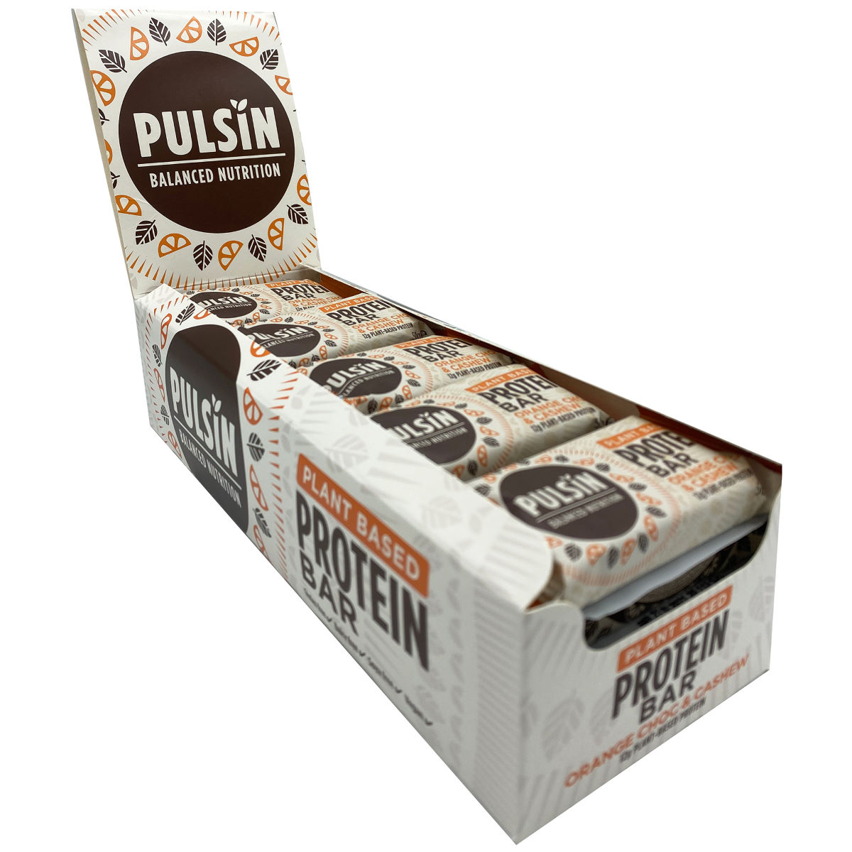Pulsin Protein Booster Bars (18 X 50g) - 50g Orange Choc Chip  Bars