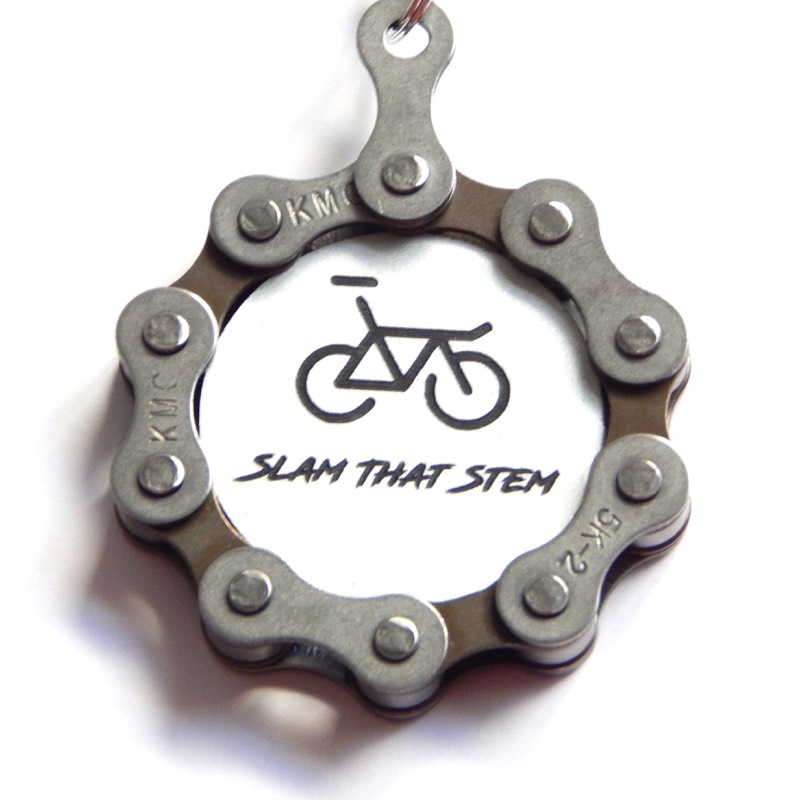 "Recycle and Bicycle ""Slam That Stem"" Recycled Bicycle Chain Keyring 