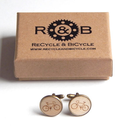 Recycle and Bicycle Wooden Bicycle Cufflinks
