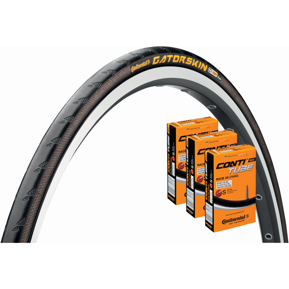 Continental Continental Gatorskin 25c Tyre + 3 Tubes   Tyres