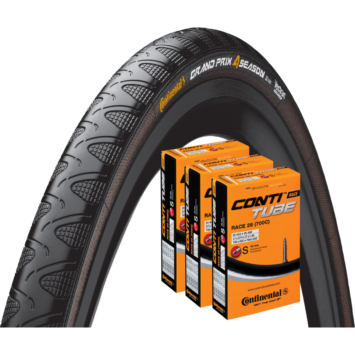 Continental Continental Grand Prix 4 Season 25c Tyre + 3 Tubes   Tyres