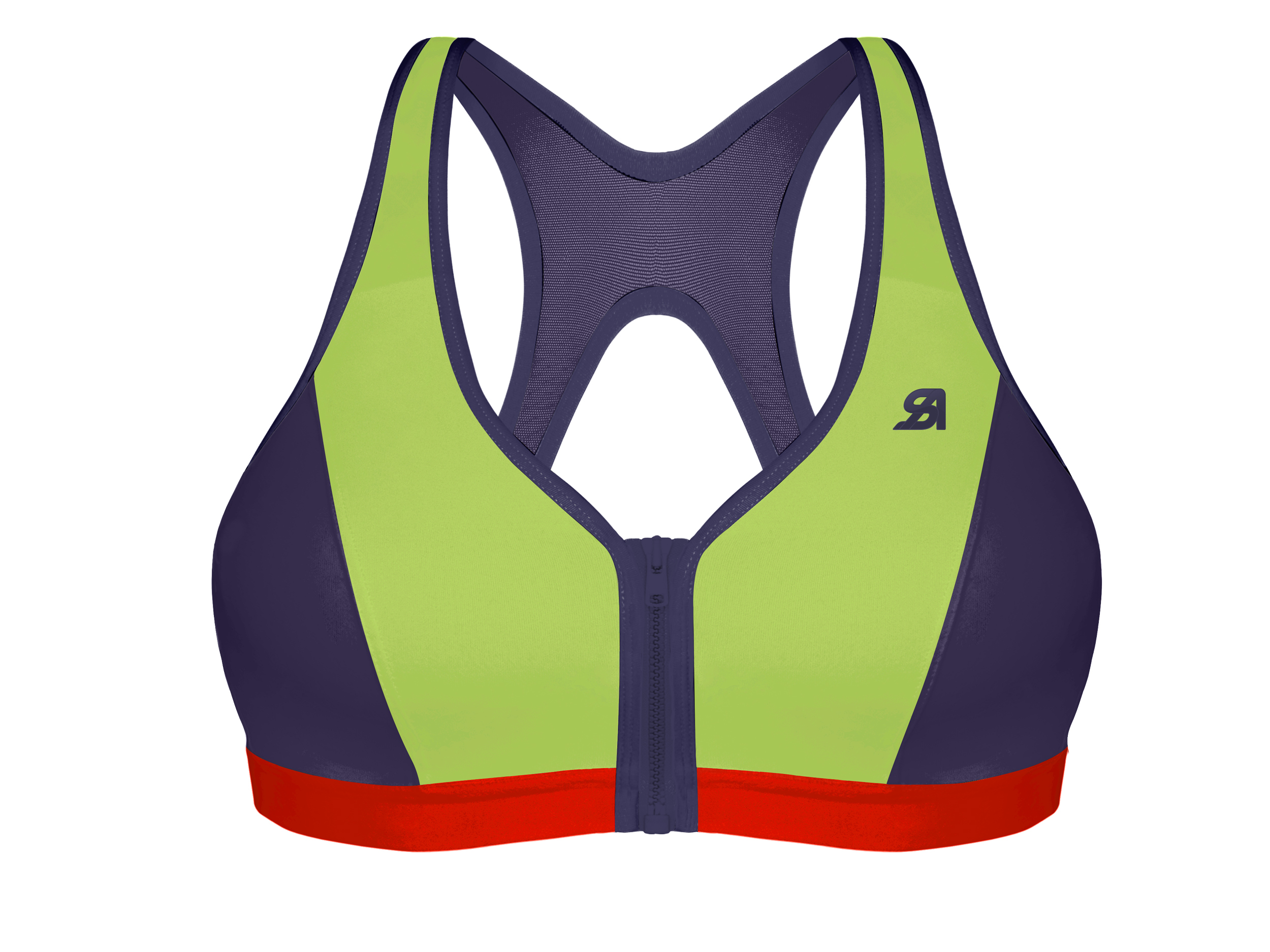 Shock Absorber Active Zipped Plunge Sports Bra (Lime Green) | Base layers