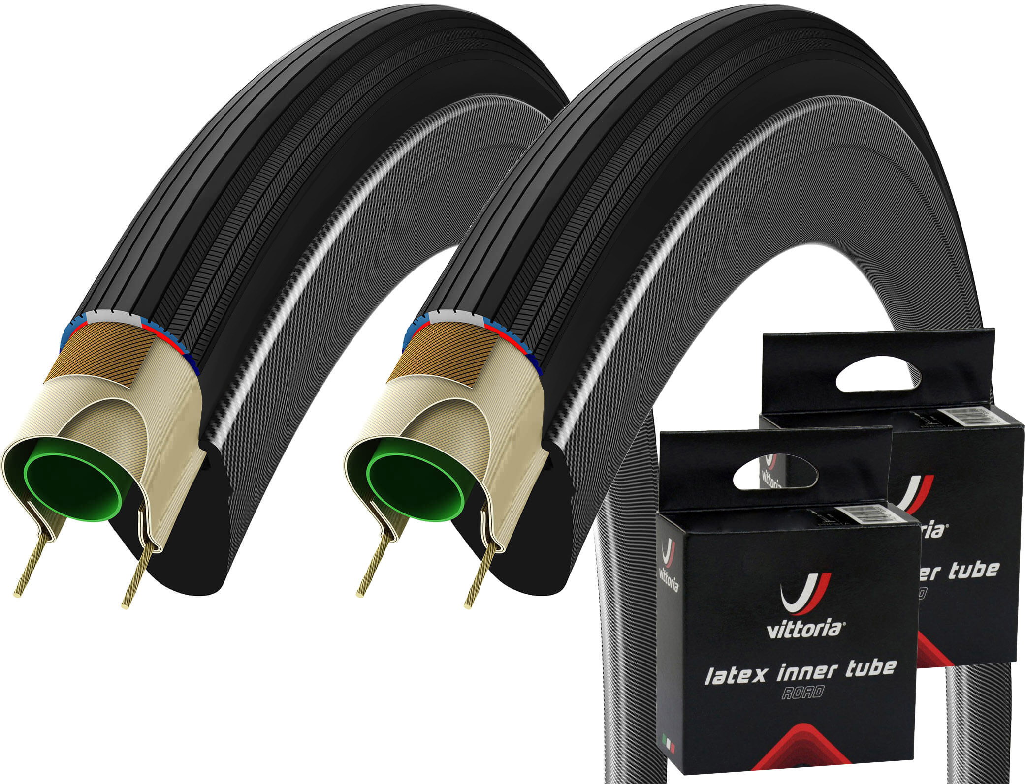 Vittoria Corsa G+ Isotech 700c Tyres and 2 Free Latex Tubes | Tyres