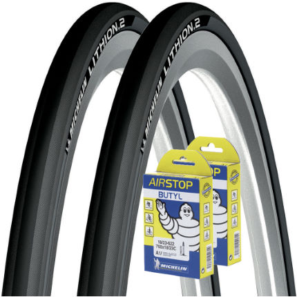 Michelin Lithion 2 Dark Grey 23c Tyres + Tubes