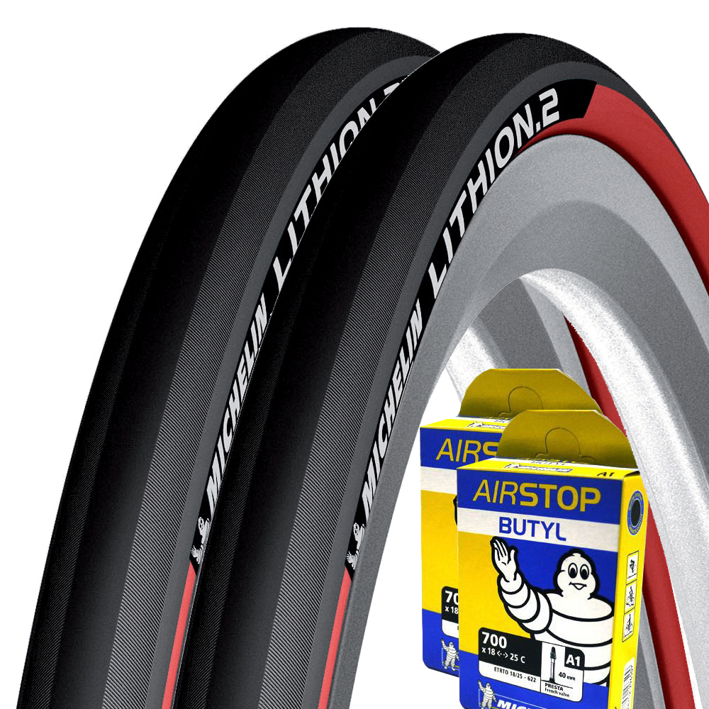 Michelin Lithion 2 Red 23c Tyres + Tubes | Dæk