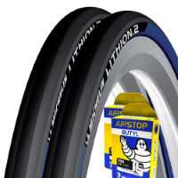 Pneus Michelin 2 Lithion 2 23c (bleus, chambres à air offertes)